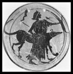A goddess, probably Hekate or else Artemis, is depicted with a bow, dog and twin torches